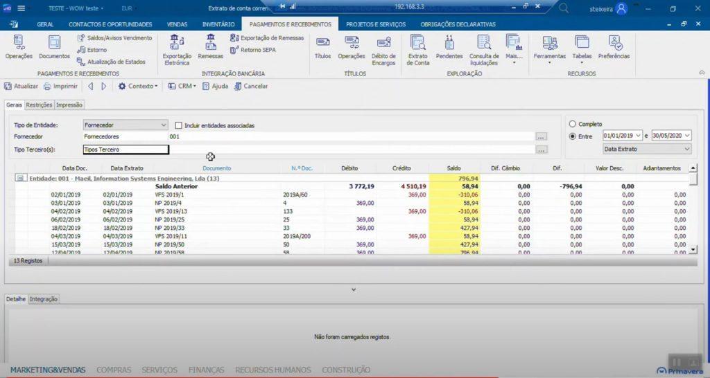 imagem do ecran do Primavera V10 - Extrato de Conta de Clientes e Fornecedores